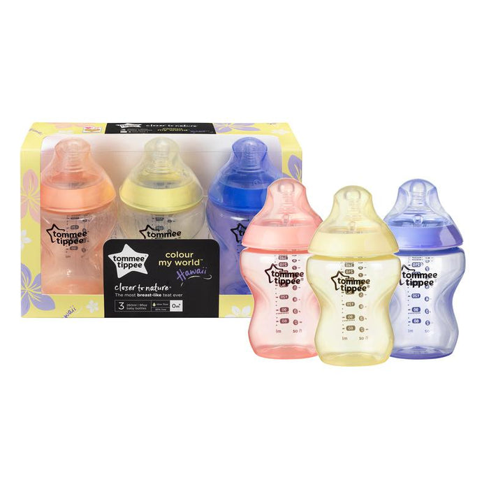 Tommee Tippee Colour My World Mamadeiras Girls 260ml - Kit com 3 Anne Claire Baby Store