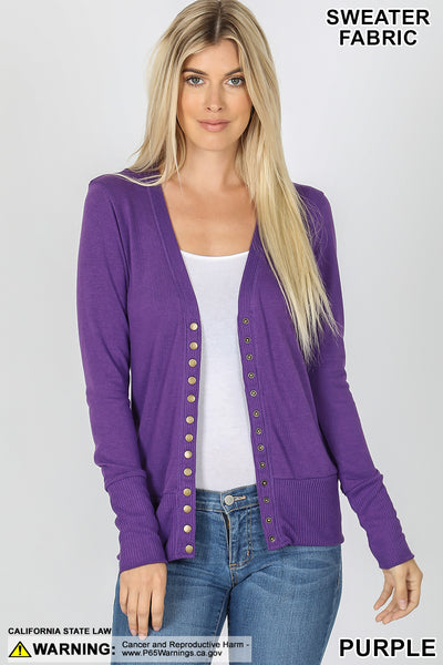 Cardigan Snap Sweater Long Sleeve 3 Colors to choose from!