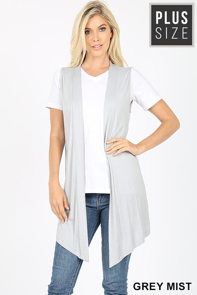Draped Open Front Sleeveless Plus Vest - 11 Colors to choose from!
