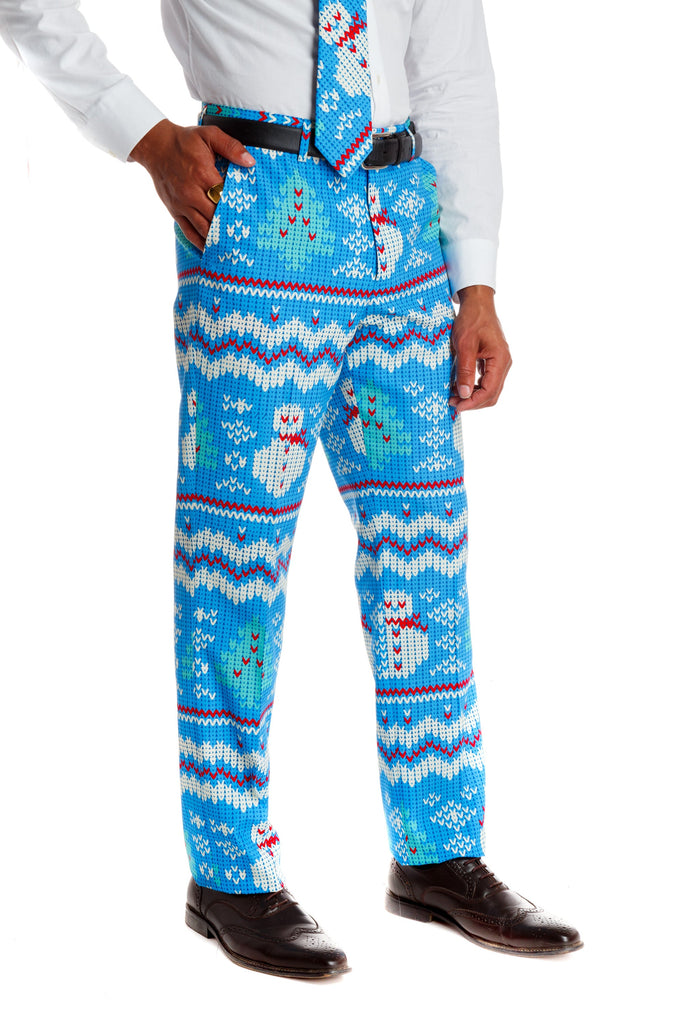 Frosted Tips Light Blue Snowmen Pant