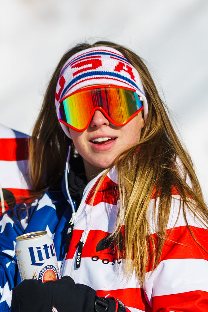 Ladies White USA Ski Headband