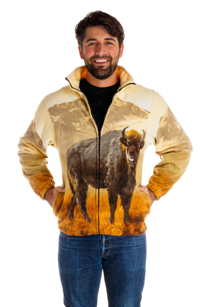 The Free Range Fleece | Buffalo Print Fleece Jacket