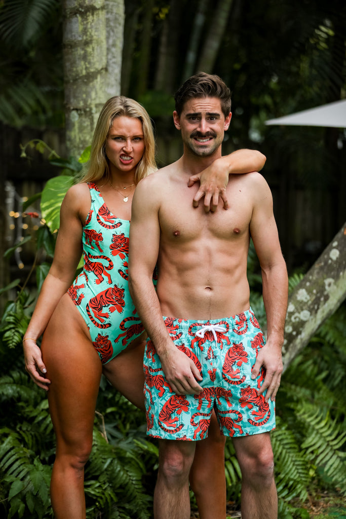 The Bahama Bengal Tiger Print Swim Trunks & One Piece