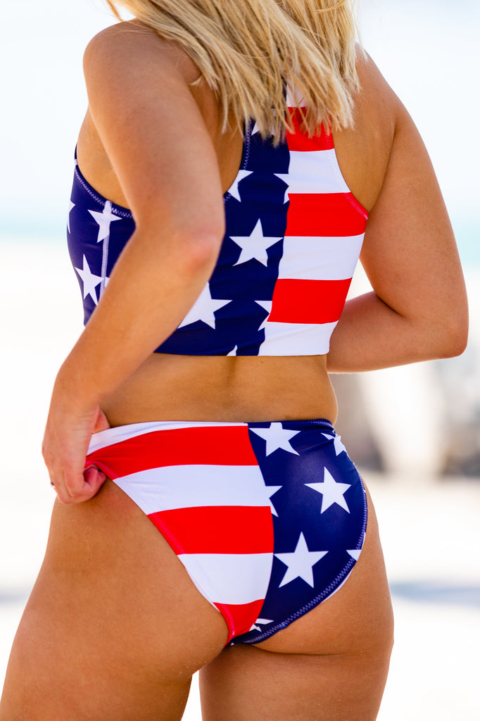 Haltered State of Mind | American Flag Bikini Bottom