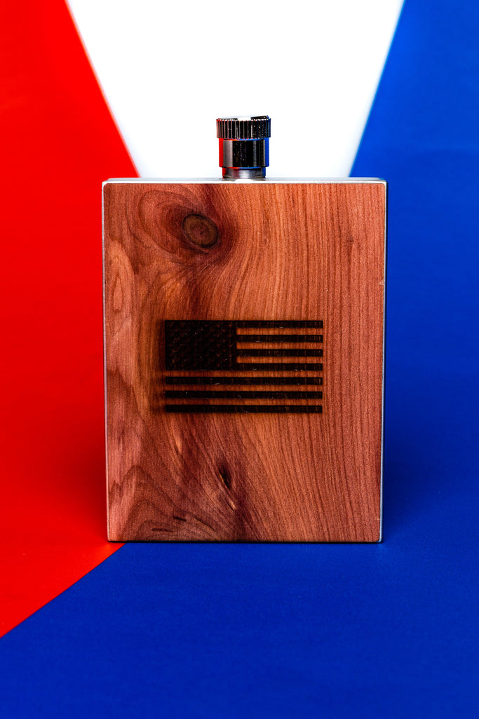 People Don't Forget | American Flag Wood Flask