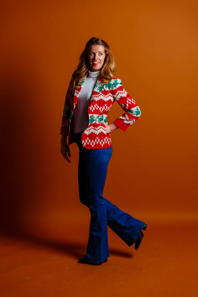 The Red Ryder | Red Knit Print Women's Blazer