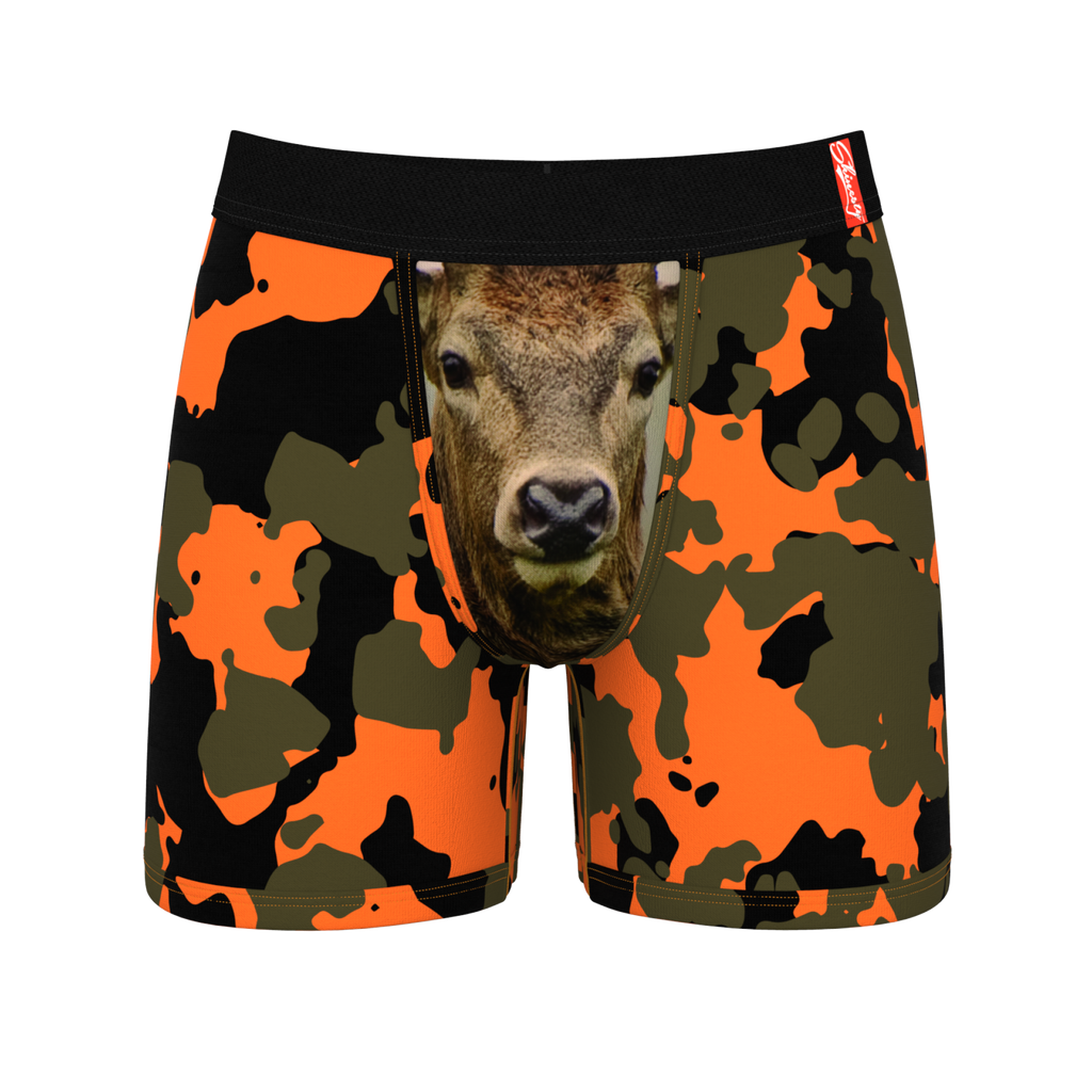 The Bambi Bunchers Orange Camo Deer Ball Hammock Boxers