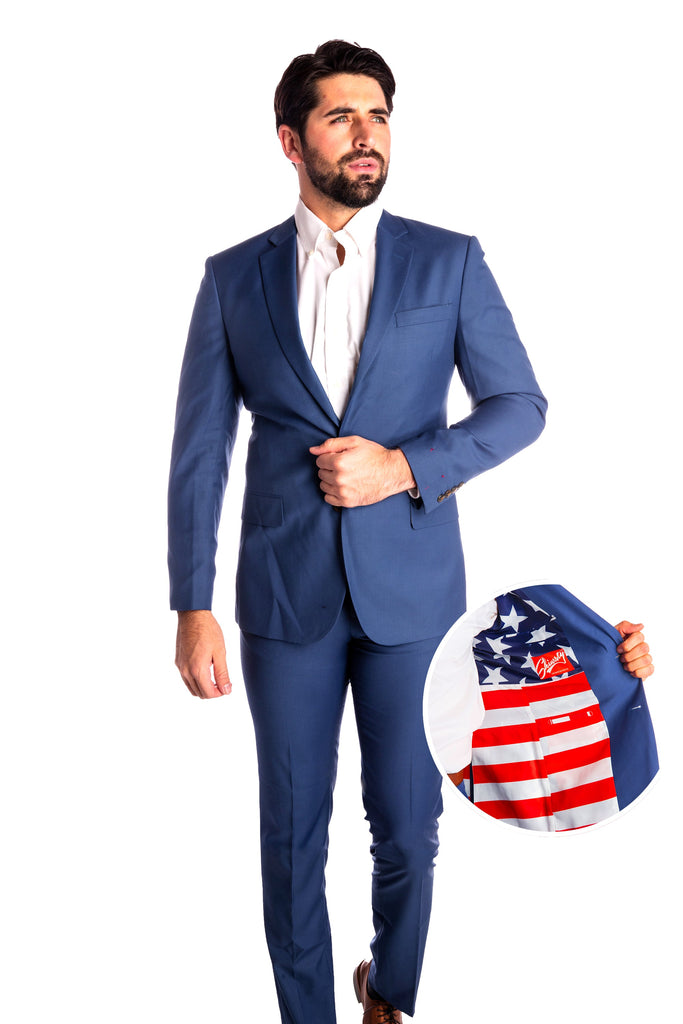 The Madison | Dusty Blue American Flag Suit Jacket