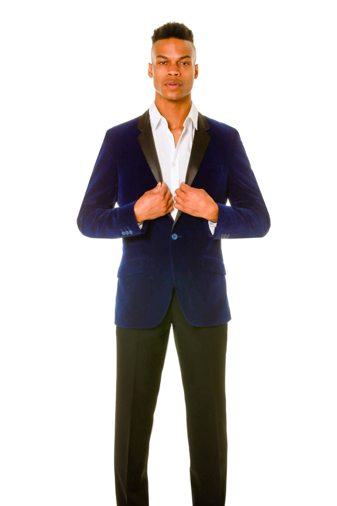 The Mr. Steal Yo Girl Mens Navy Blue Velvet Blazer