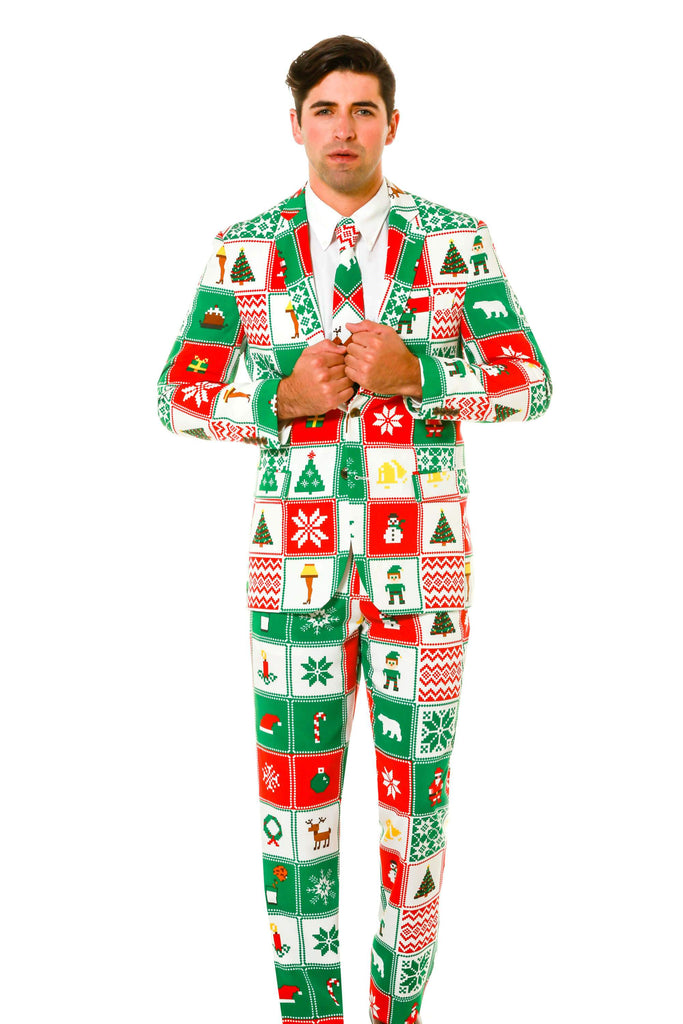 Touch Me Twice Naughty or Nice Patchwork Ugly Christmas Sweater Suit