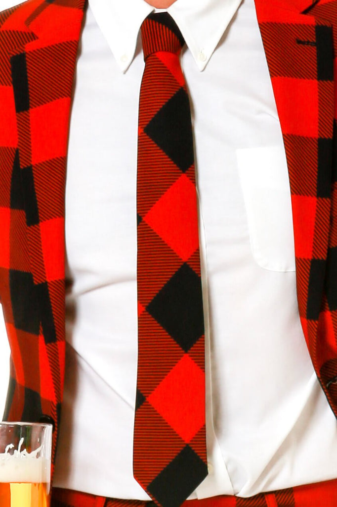 The Red & Black Lumberjack Buffalo Check Tie