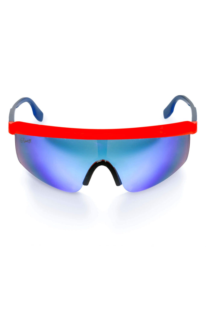 The Red & Blue The Roof Off 80s Mirrored Retro Sunglasses
