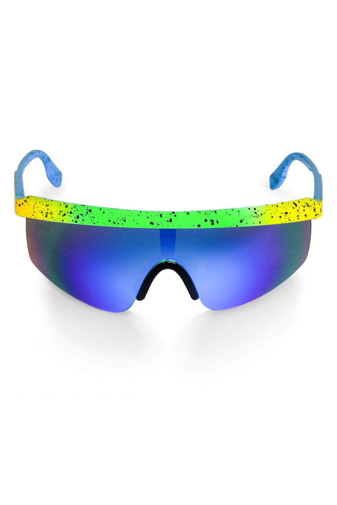 The Laser Derby Blue Mirrored Blade Sunglasses