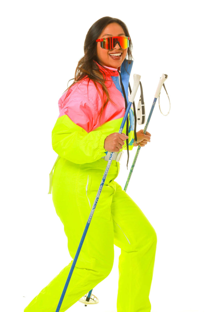 The Face Melter Womens Neon Yellow And Pink Retro Ski Suit