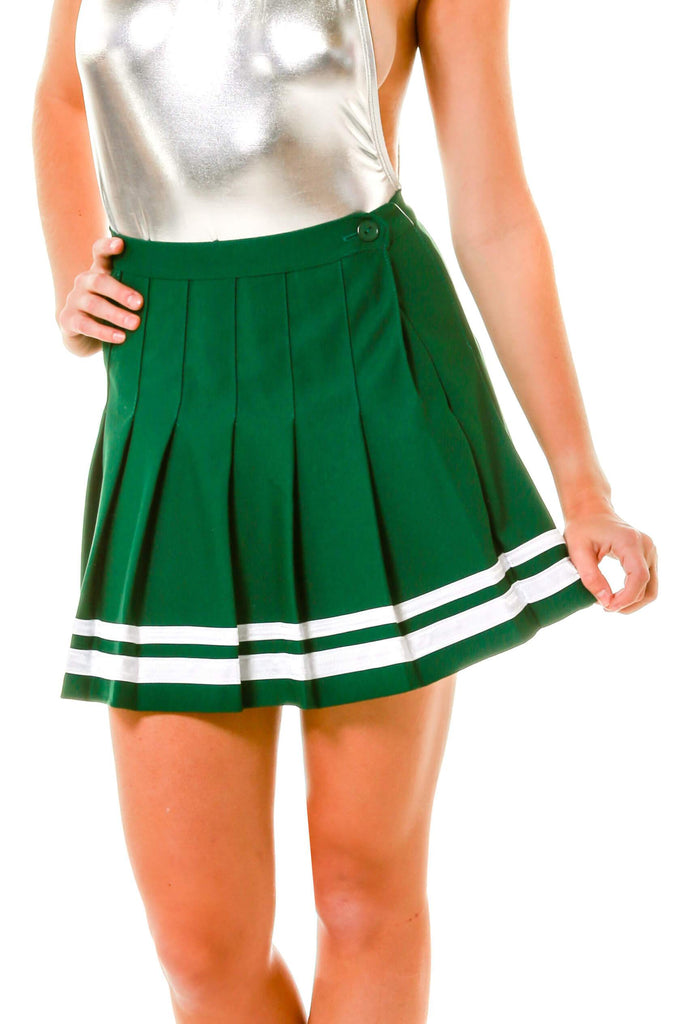Green And White Pleated Cheer Skirt