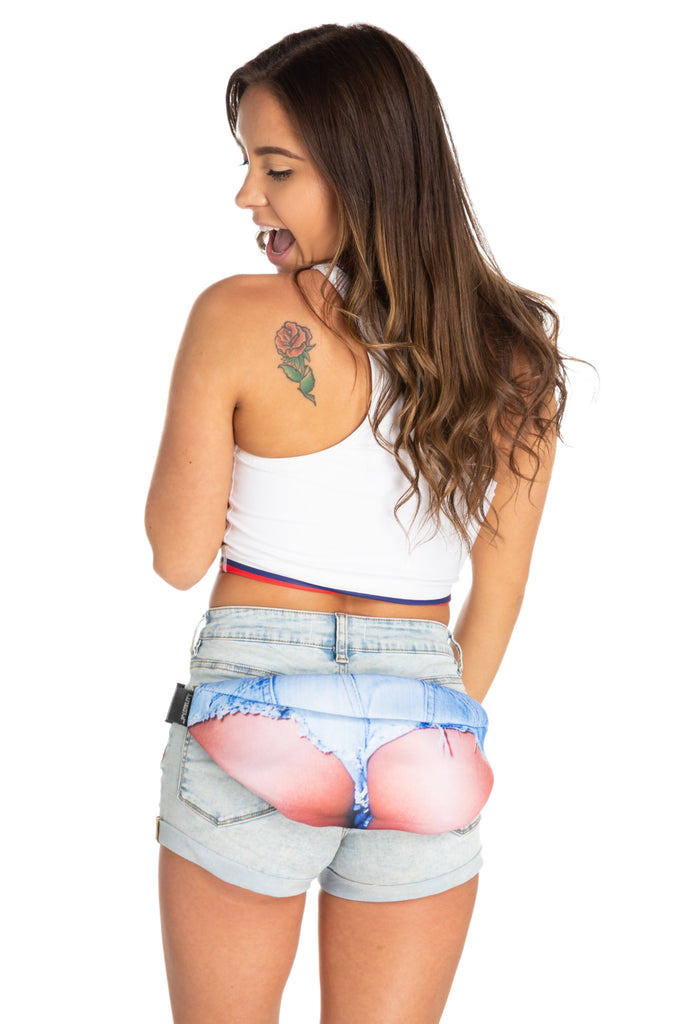 Ladies Junk In The Trunk Jean Shorts Fanny Pack