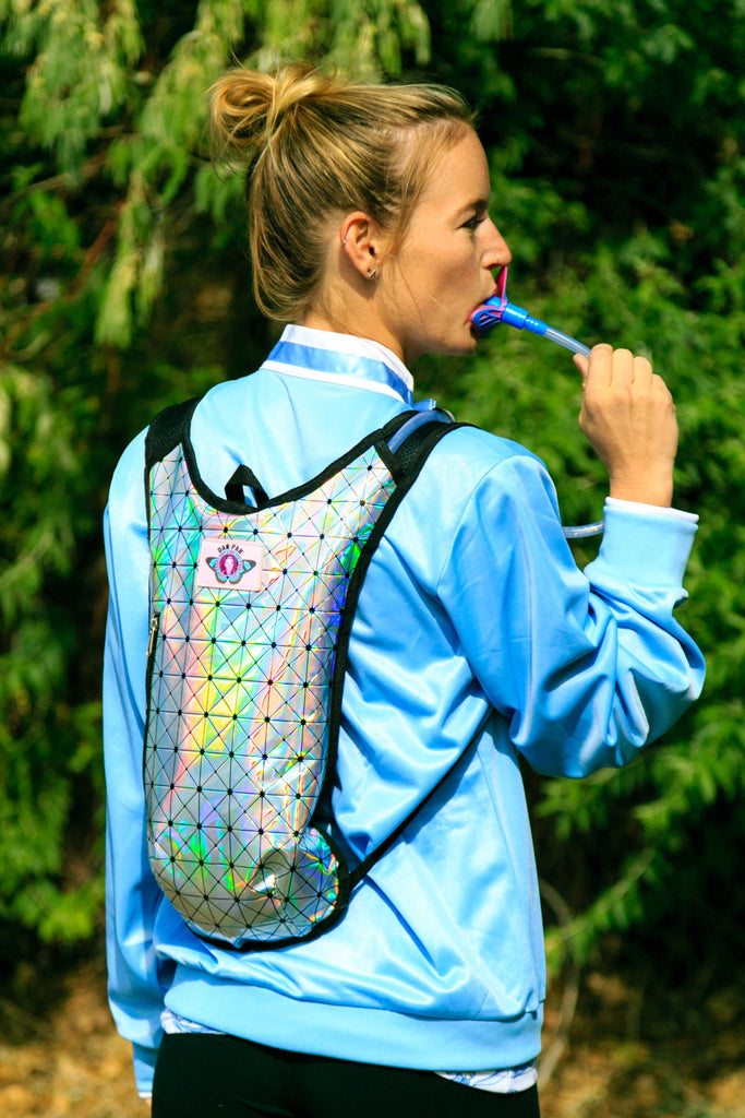 The Disco Biscuits Make You Thirsty Holographic Hydration Backpack