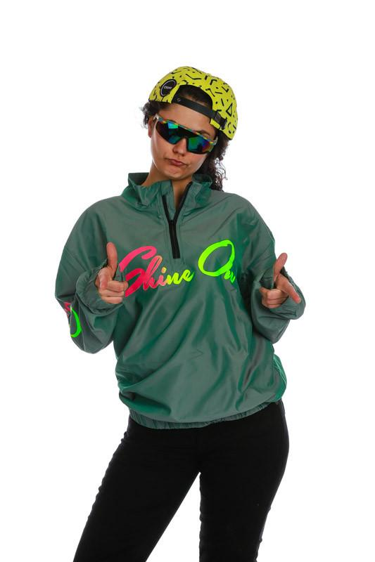 Womens Verde Carouse Shine On Green Windbreaker