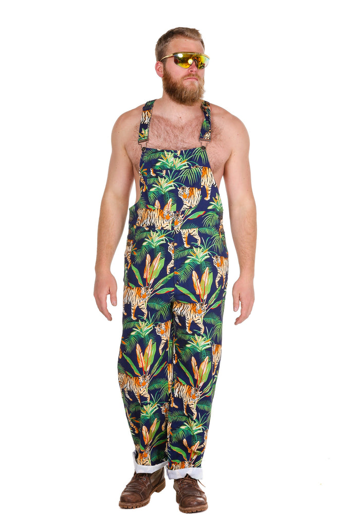 The Tiger Style Men's Jungle Tiger Print Overalls