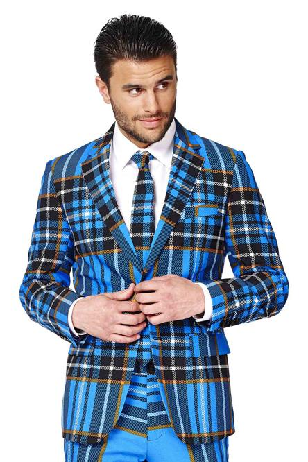 The Highlander Blue Tartan Plaid Christmas Party Jacket and Tie by Opposuits