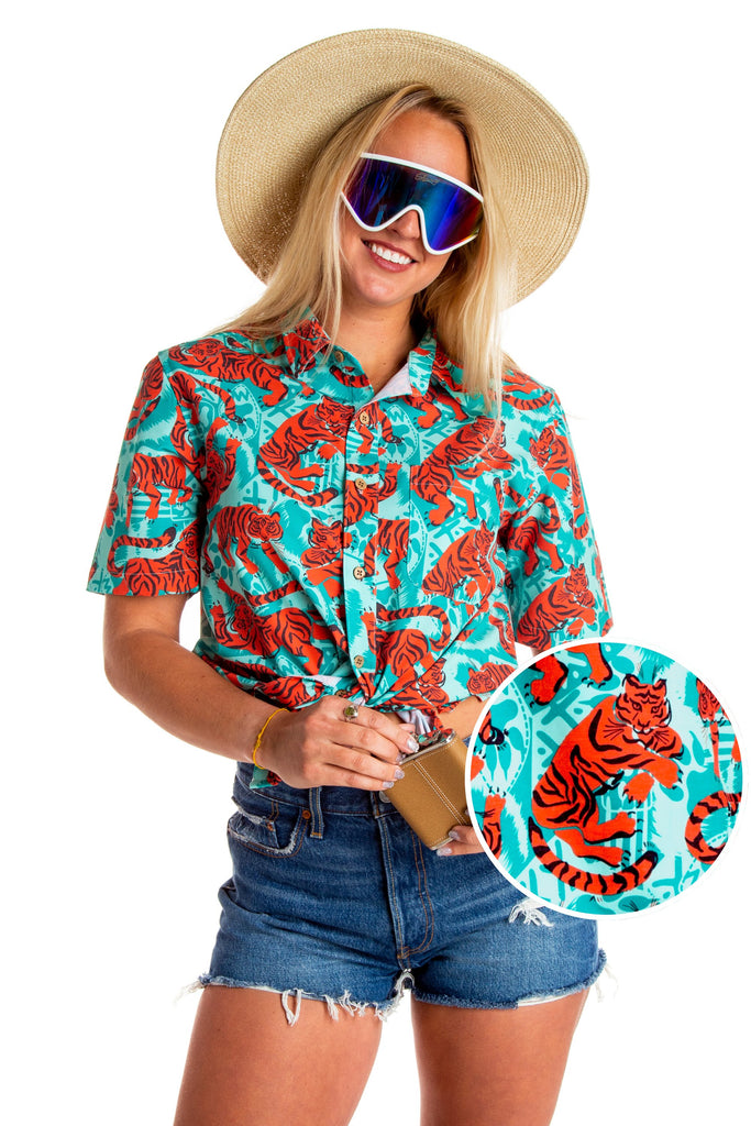 The Bahama Bengal Babe Ladies Tiger Print Hawaiian Shirt