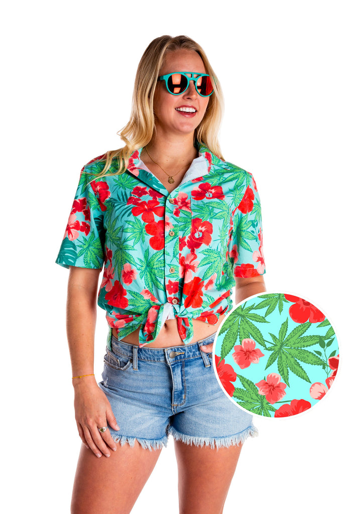 The Devil's Lettuce Ladies Weed Print Unisex Hawaiian Shirt