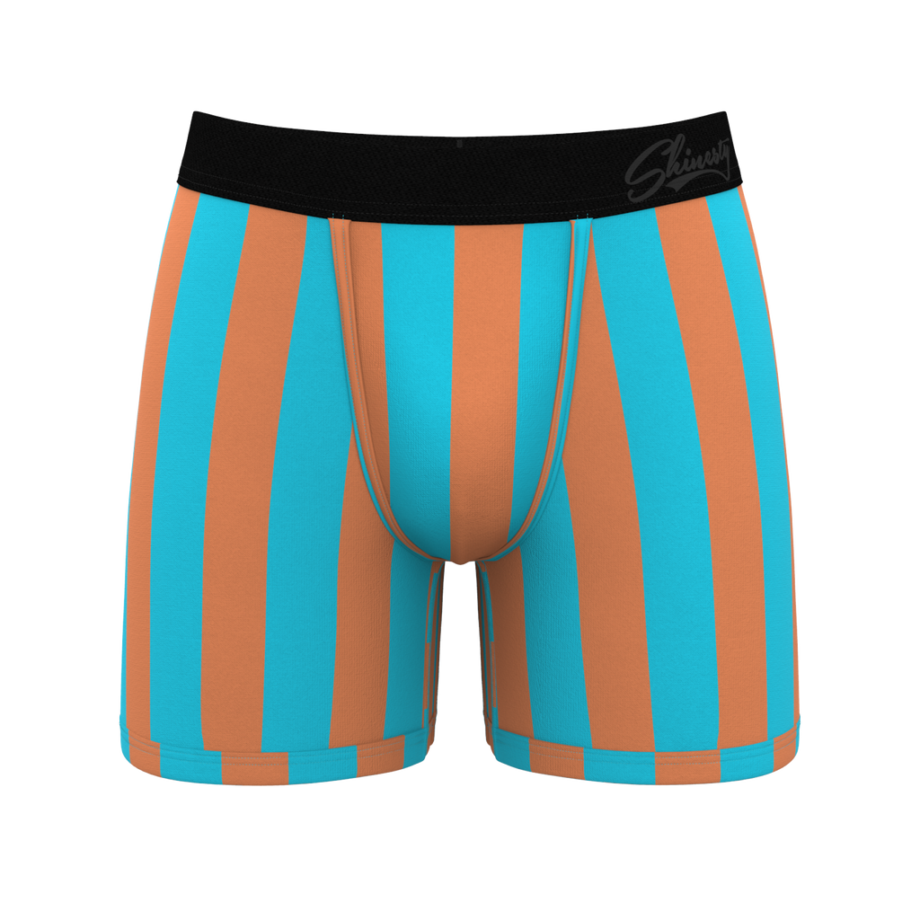 The Cock Du Soleil Orange And Teal Striped Ball Hammock Boxer Briefs