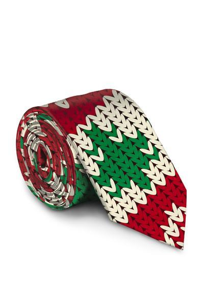 The Red Ryder | Red Knit Print Christmas Sweater Tie