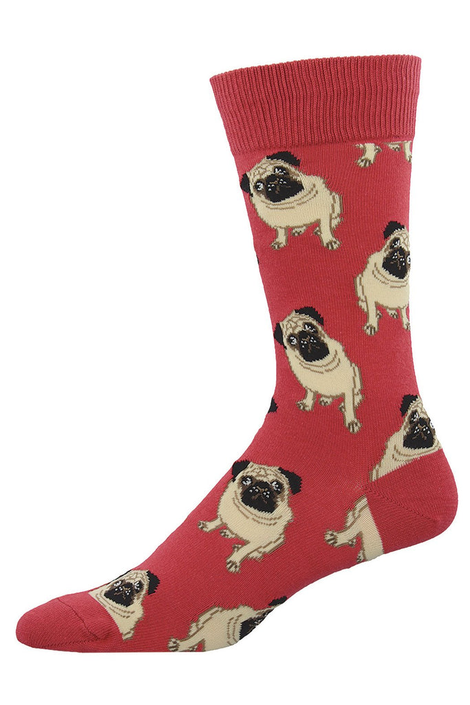 Dain's Dog's Socks Red and Brown Pug Printed Socks
