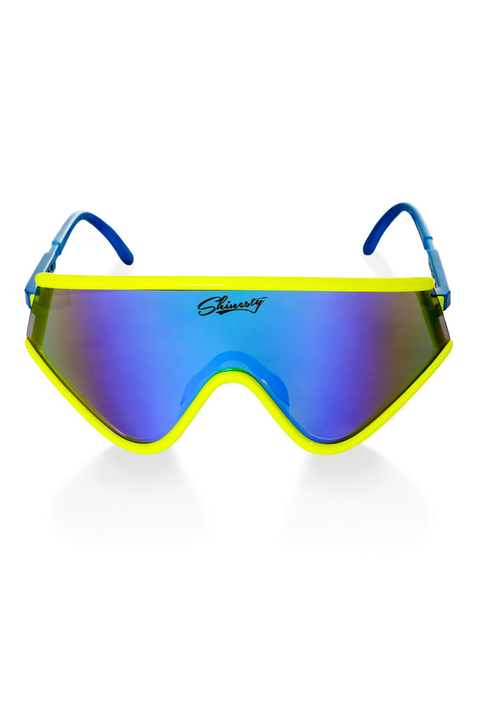 Neon Yellow Mirrored Machos 80s Ski Sunglasses