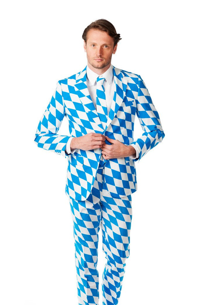 The Bavarian Derby Man White And Blue Oktoberfest Suit