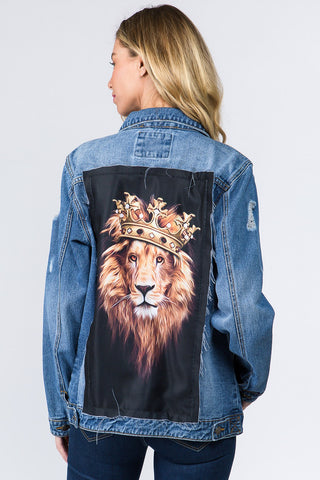 Lion Patch Denim Jacket