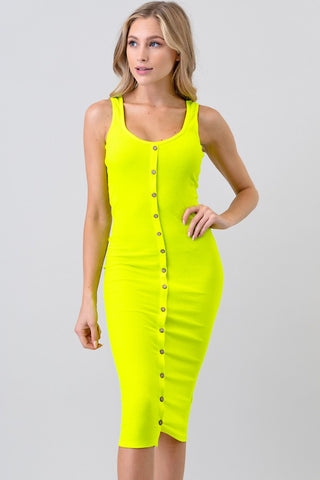 Button Midi Dress - Neon Lime