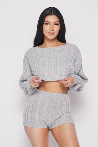 Knit Short Set - Grey