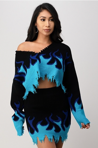 Blue Flame Skirt Set