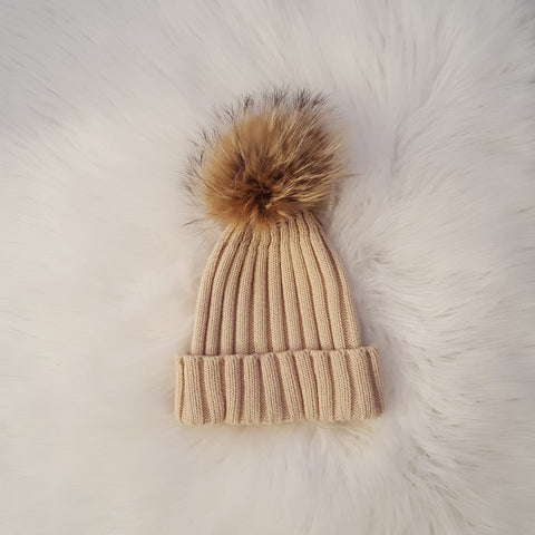 Beige Knitted Beanie with Fur