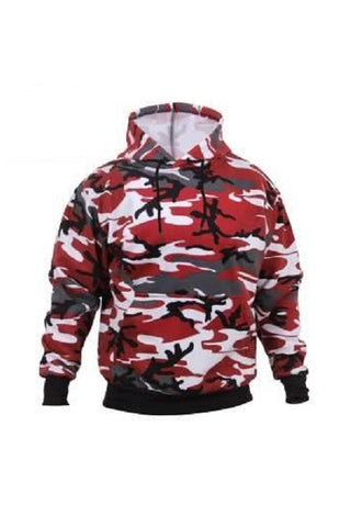 Pullover hooded sweatshirt - Red camo
