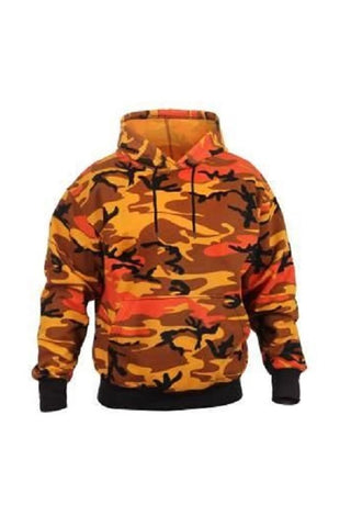 Pullover hooded sweatshirt - Savage Orange camo