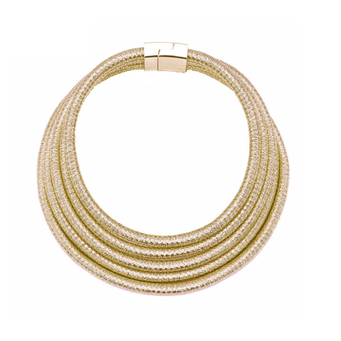 Golden Rope Collar Statement Necklace