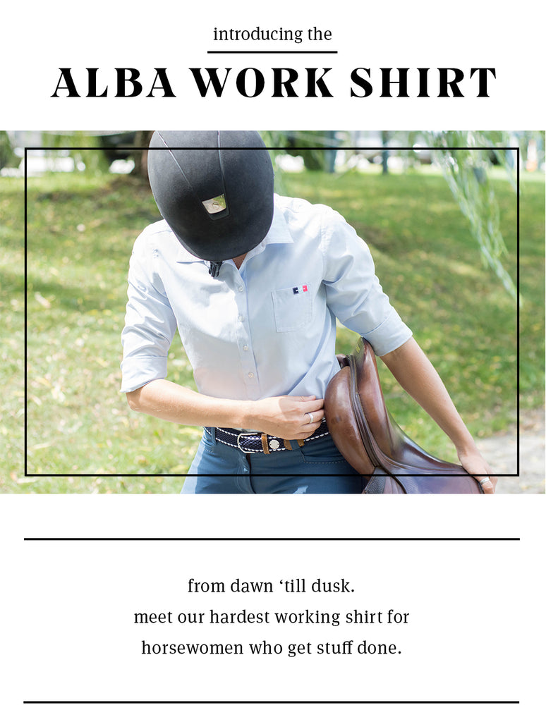 Introducing the Alba Work Shirt, a new button-down shirt for equestrians from Hunt Club.