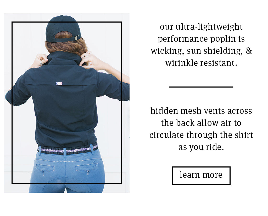 Wicking fabrics and hidden vents make the Alba Work Shirt perfect for long days at the barn and in the saddle.