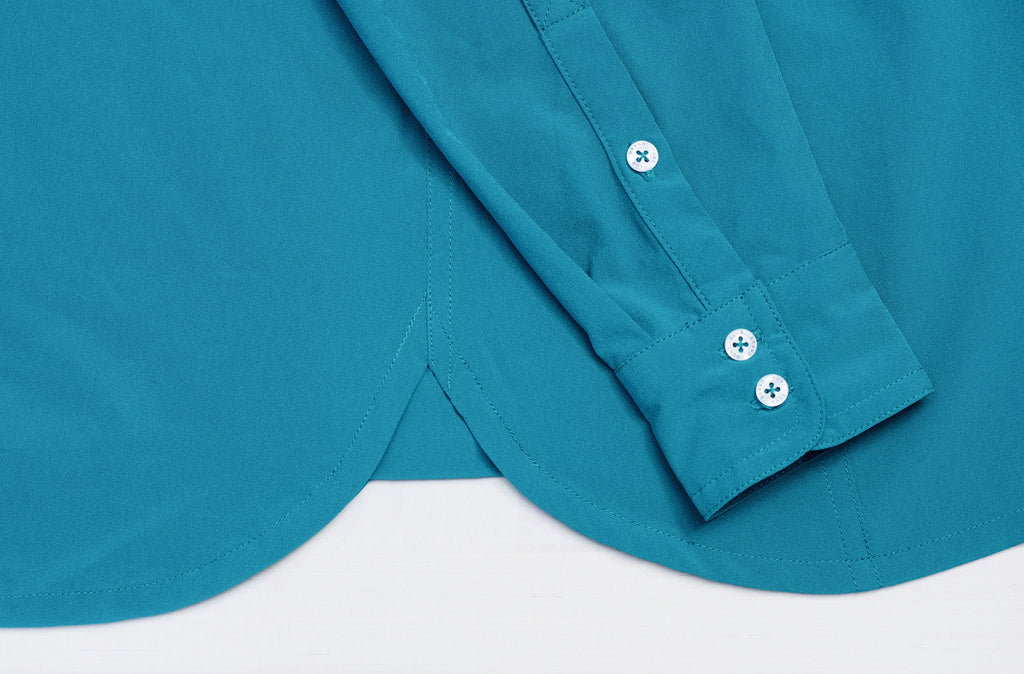 Green button-down shirt for riding