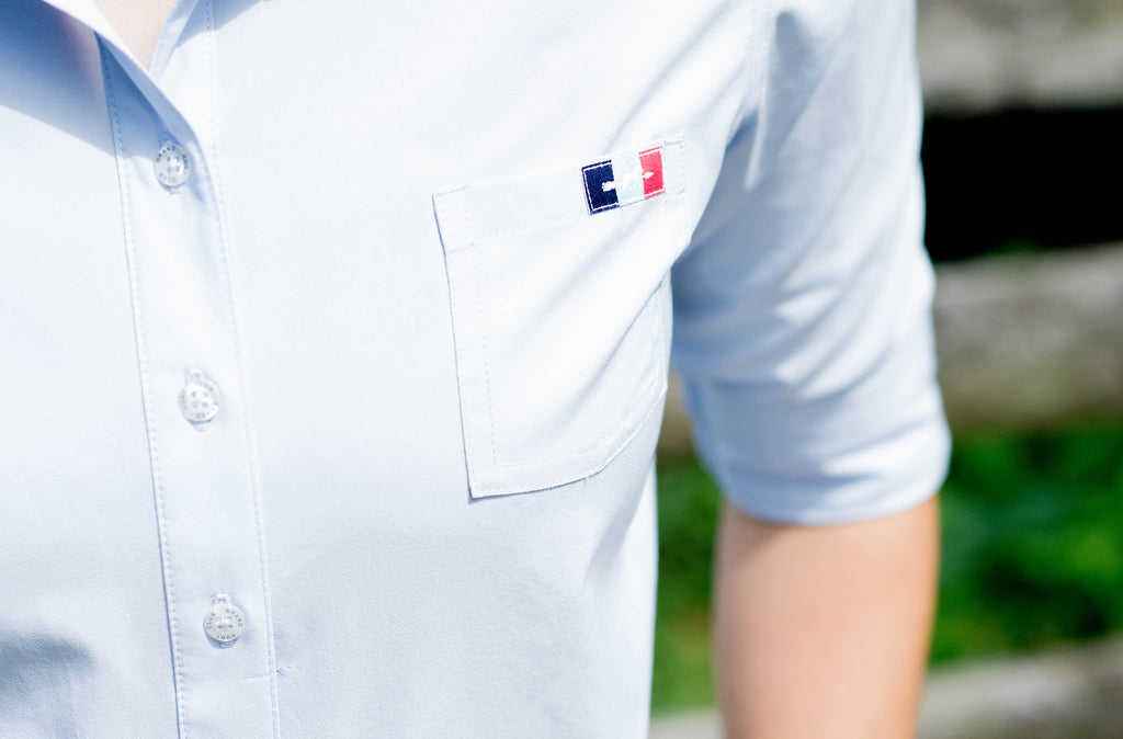 Light blue equestrian work shirt