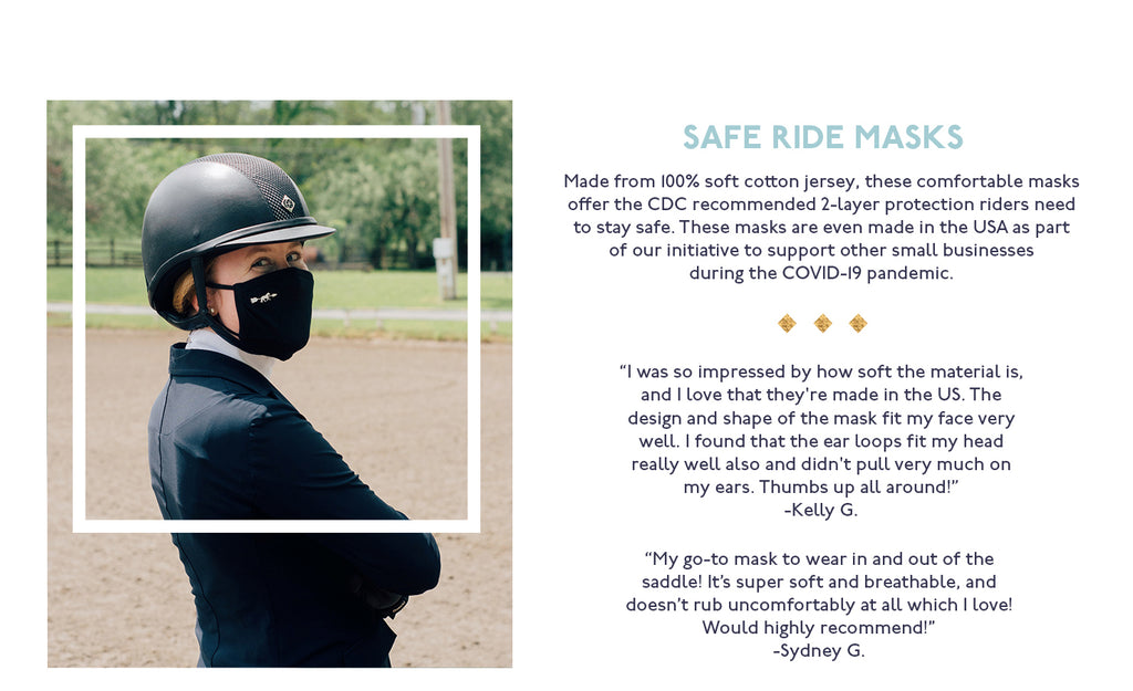 Woman wearing Hunt Club Safe Ride Face Mask