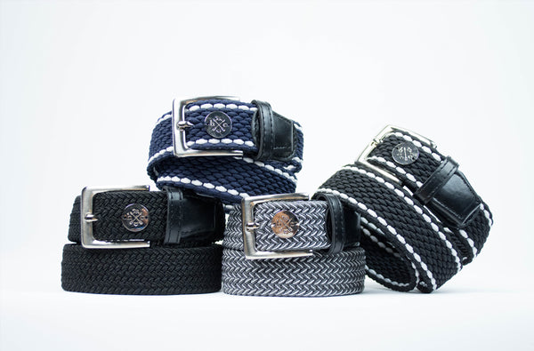 The Hunt Club equestrian Derby Belts, stacked up.