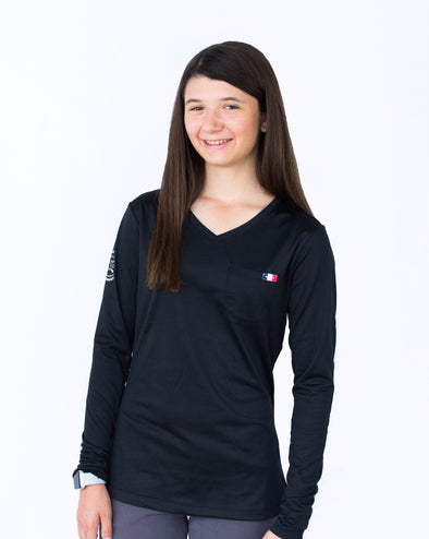 Women's Long Sleeve Essential Pocket Tee - Black