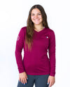 Women's Long Sleeve Essential Pocket Tee - Bordeaux
