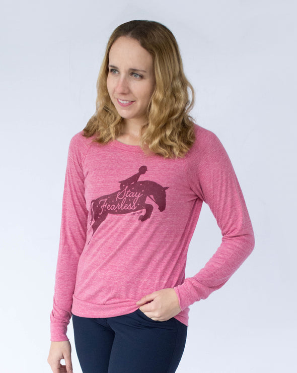 Women's Stay Fearless Slouchy Pullover - Berry