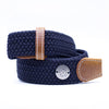 The Burgundy Hunt Buckle Belt - Navy Strap w/ Brown Leather