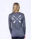 Women's Long Sleeve Essential Pocket Tee - Dark Heather Grey